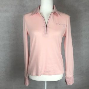 DKNY Jeans Pink Collared Knit Top